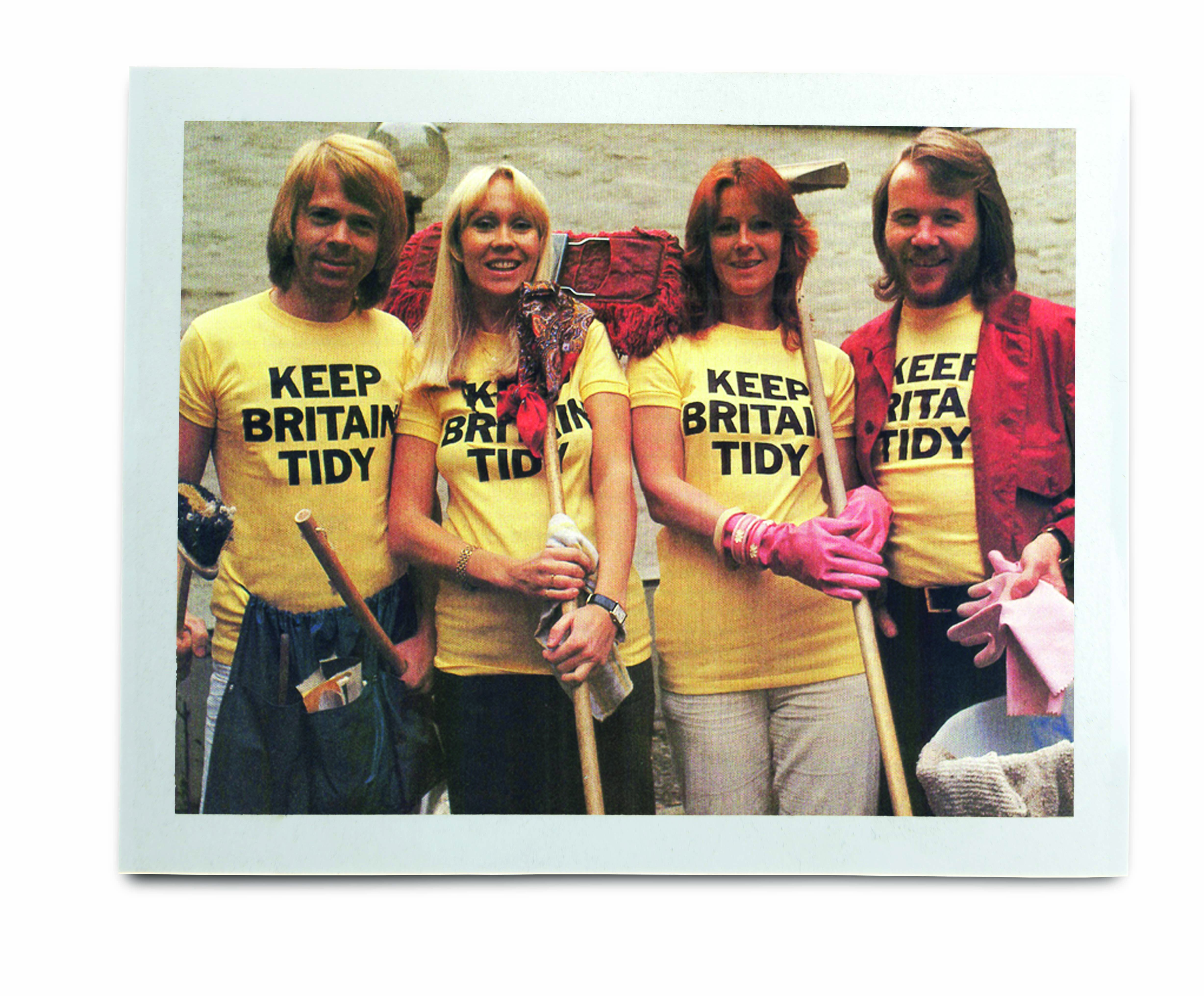 An image of ABBA wearing Keep Britain Tidy t-shirts