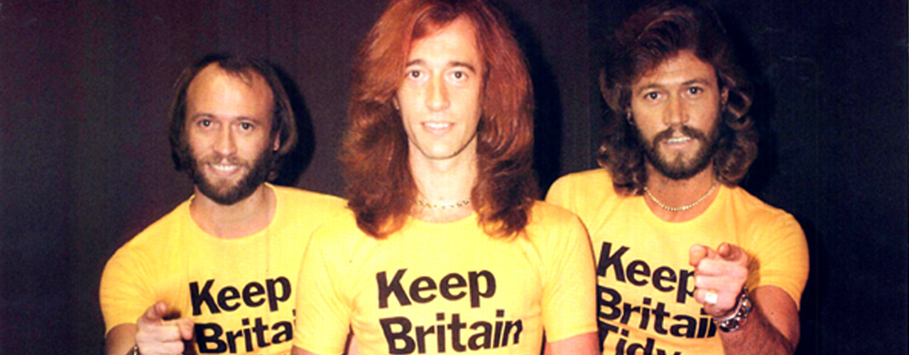 An image of the Bee-Gees in Keep Britain Tidy t-shirts from the 1970s