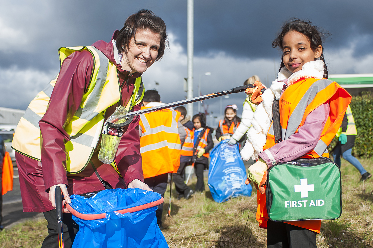 An image of a woman and a girl doing a litter-pick for the Great British Spring Clean