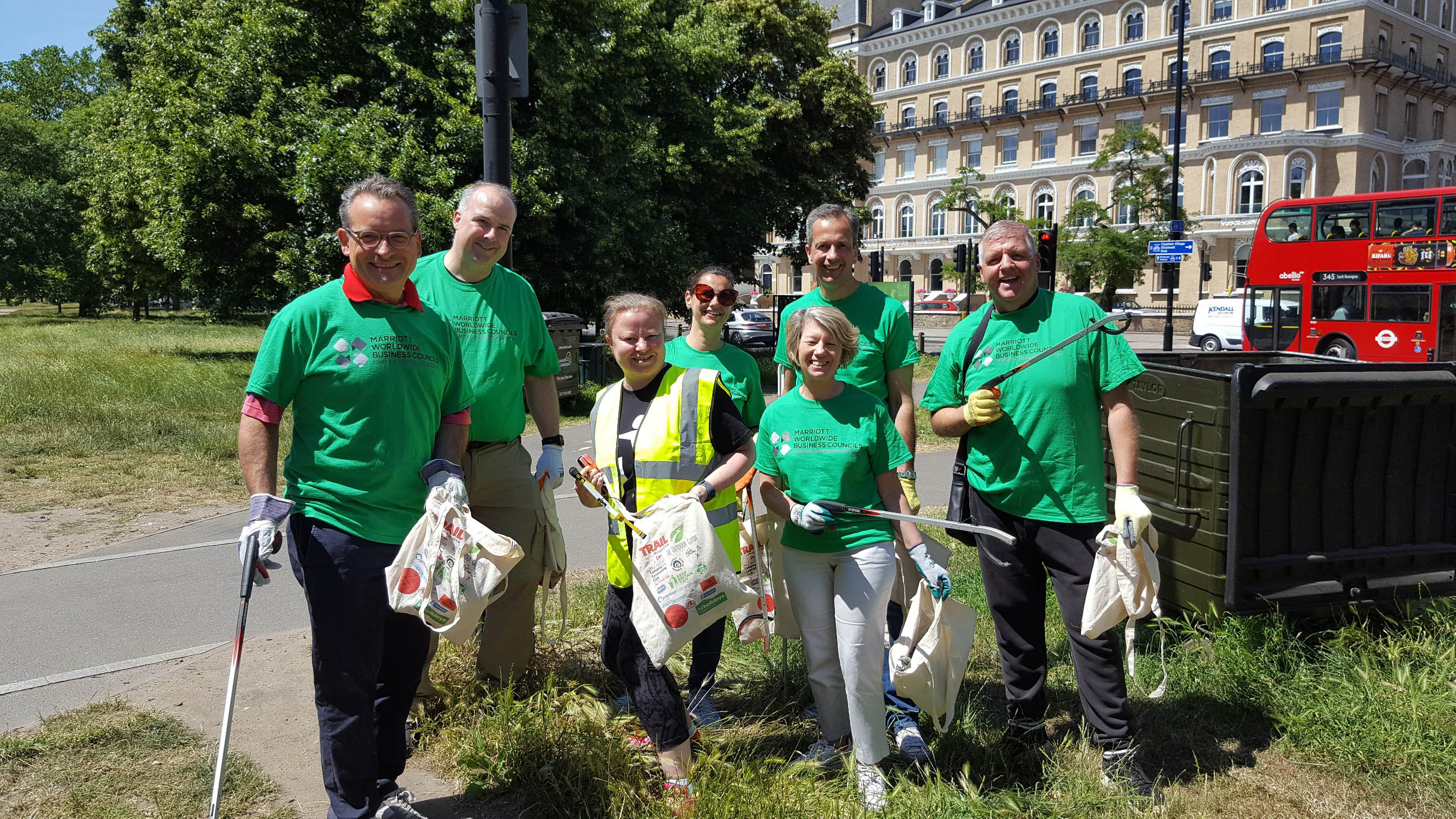 Marriott and Keep Britain Tidy staff plogging on Clapham Common