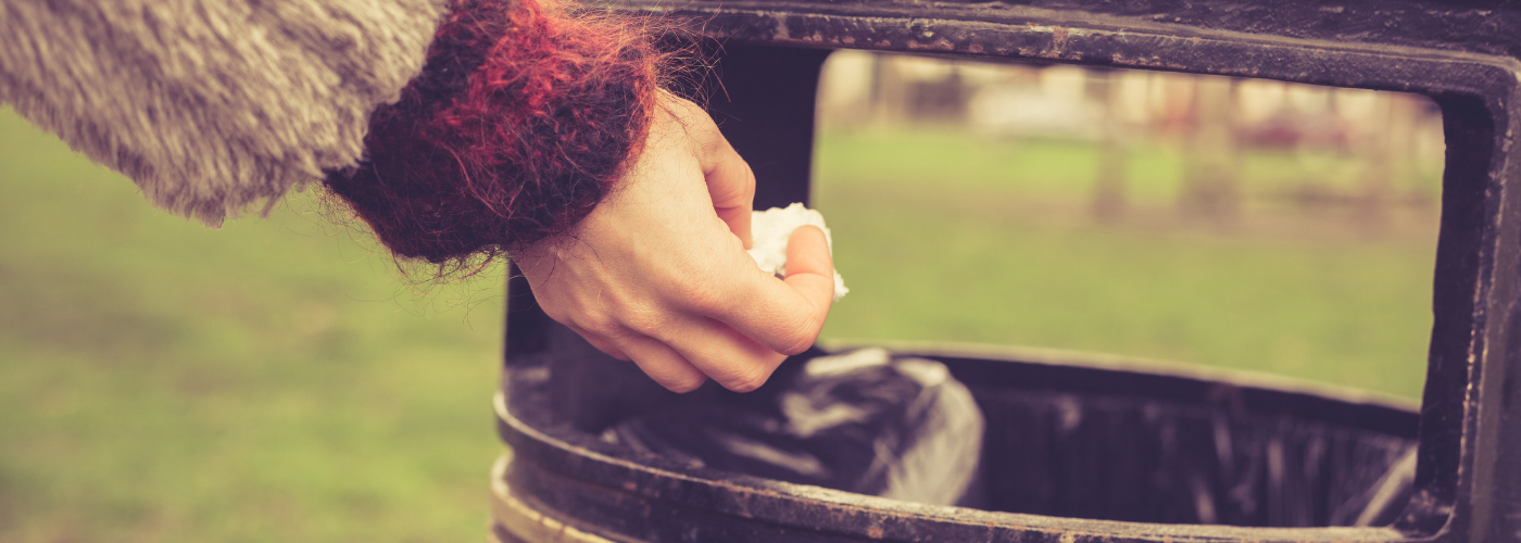 An image of a person putting litter in the bin